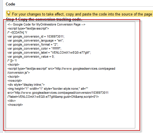Conversion Tracking Snippet Code, conversion tracking, ppc